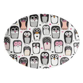 penguin bird illustration background porcelain serving platter