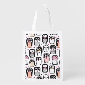 penguin bird illustration background reusable grocery bag