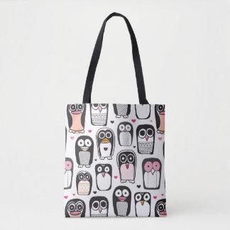 penguin bird illustration background tote bag