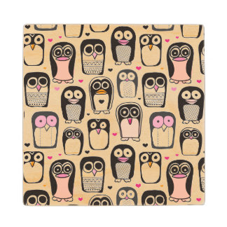 penguin bird illustration background wood coaster
