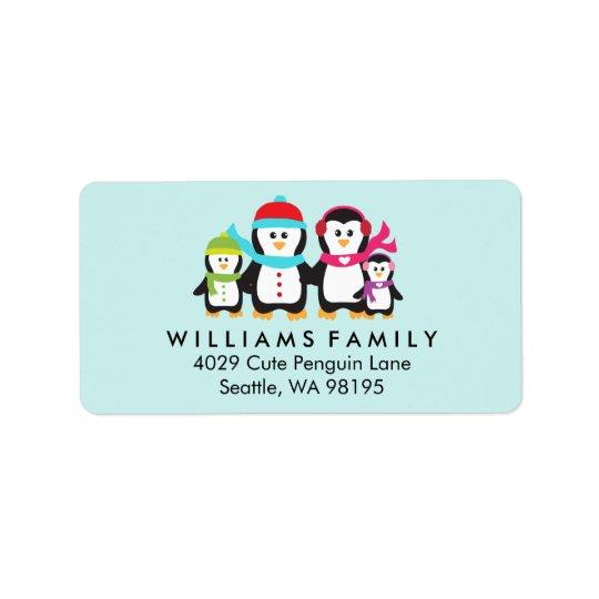Penguin Birds Family Christmas Winter Holiday Address Label