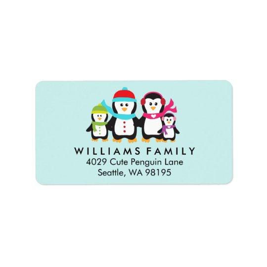 Penguin Birds Family Christmas Winter Holiday Label