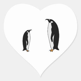 Penguin Birds Heart Sticker