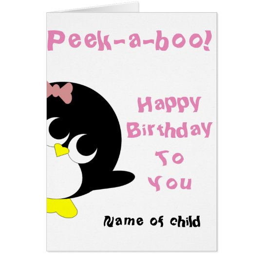 Penguin birthday card for young girl