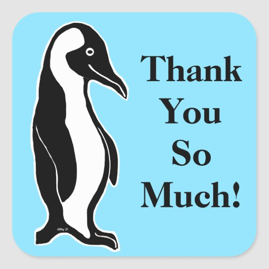 Penguin Blue Thank You So Much Stickers