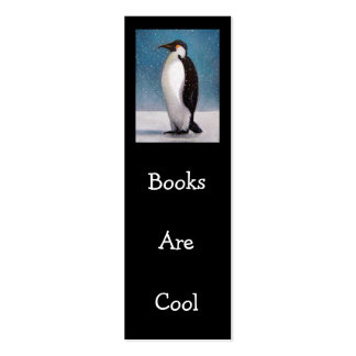 PENGUIN: BOOKS ARE COOL: TINY BOOKMARK BUSINESS CARD TEMPLATE