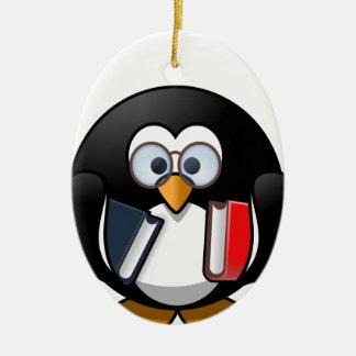 Penguin & Books student teacher reading bookworm Christmas Ornament