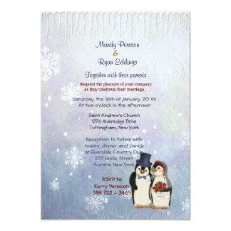 Penguin Bride and Groom Wedding Invitation