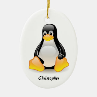 Penguin cartoon personalized custom boys name christmas ornament