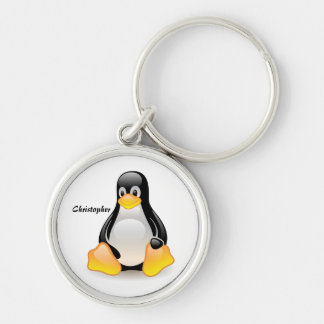 Penguin cartoon personalized custom boys name Silver-Colored round key ring