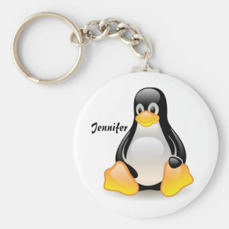Penguin cartoon personalized custom girls name key ring