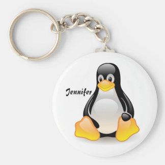 Penguin cartoon personalized custom girls name basic round button key ring