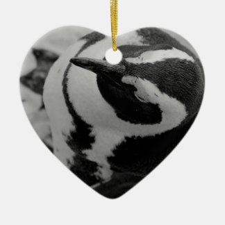 Penguin Ceramic Heart Decoration