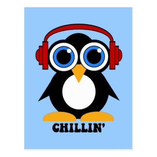 penguin chillin postcard