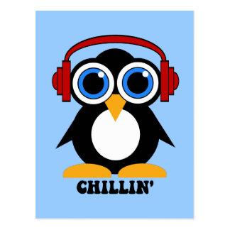 penguin chillin postcard