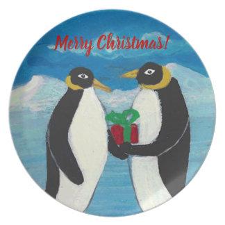 Penguin Christmas B Melamine Plate