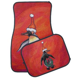 Penguin Christmas On Red Floor Mat
