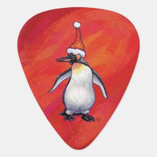 Penguin Christmas On Red Guitar Pick