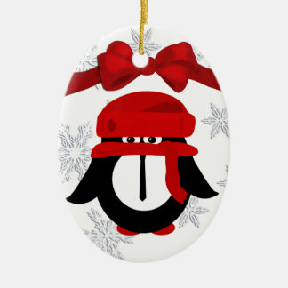 Penguin Christmas Oval Ornament