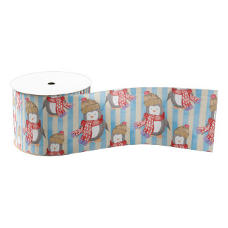 Penguin Christmas Pattern Grosgrain Ribbon