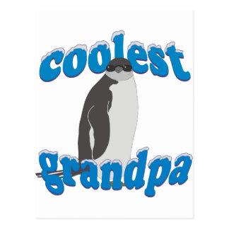 Penguin Coolest Grandpa Postcard