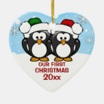 Penguin Couple First Christmas Ornament