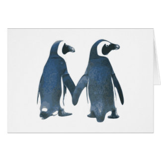 Penguin Couple Holding Hands Greeting Card