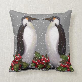 Penguin Couple in Snow: Christmas Art: Holly Cushion