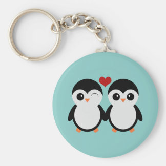 Penguin couple key ring