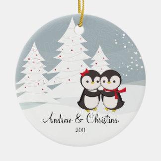 Penguin Couple Love Cute Christmas Ornament