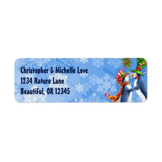 Penguin Couple, Mistletoe, Snowflakes Address Return Address Label