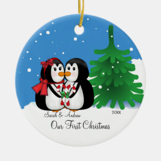Penguin Couple Our First Christmas Ornament