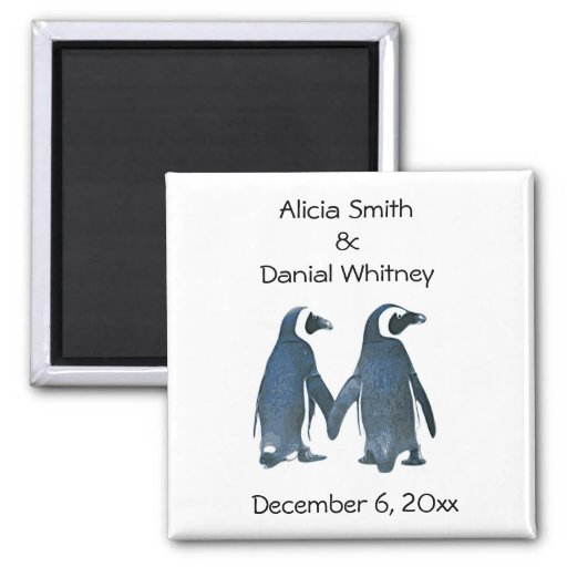 Penguin Couple Save the Date Magnet