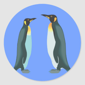 Penguin couple round sticker