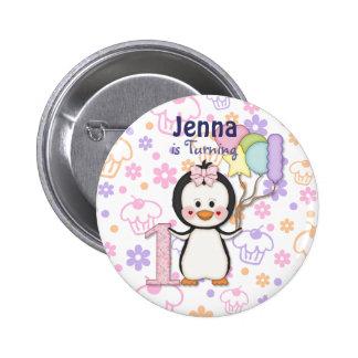 Penguin Cutie- Girl First Birthday 6 Cm Round Badge