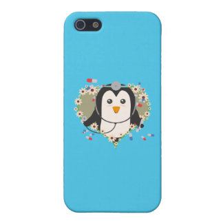 Penguin doctor with flower heart Q1Q Cover For iPhone 5/5S