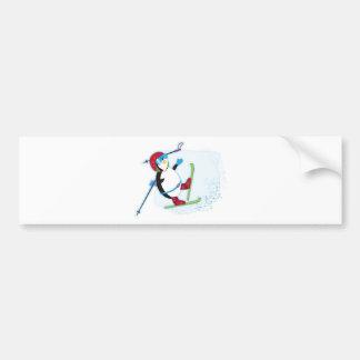 Penguin falling on ski bumper stickers