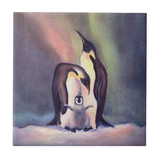 PENGUIN FAMILY by SHARON SHARPE Small Square Tile