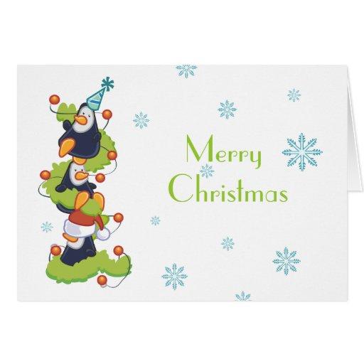 Penguin family christmas greeting card zazzle for Penguin christmas cards homemade