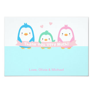 Penguin Family Cute Baby Shower Thank You Cards 9 Cm X 13 Cm Invitation Card