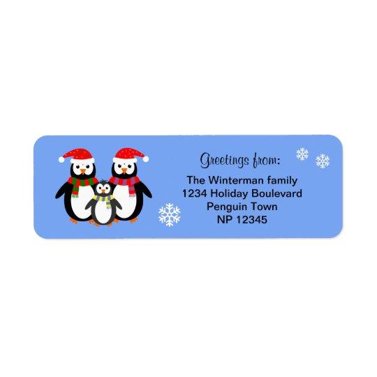 Penguin family editable text blue christmas