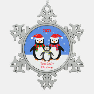 Penguin family first Christmas custom text Pewter Snowflake Decoration