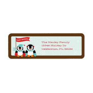 Penguin Family of 2 Holiday Label Return Address Label