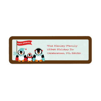 Penguin Family of 3 Holiday Label