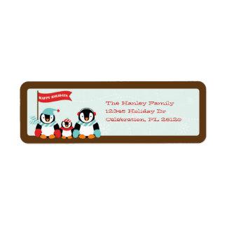 Penguin Family of 3 Holiday Label Return Address Label