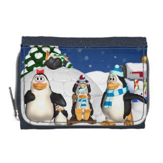 Penguin Family Winter Holiday Fun Purse Wallet