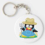 Penguin Farmer Basic Round Button Key Ring