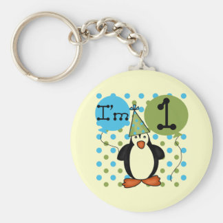 Penguin First Birthday Tshirts and Gifts Key Chain