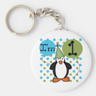 Penguin First Birthday Tshirts and Gifts Basic Round Button Key Ring