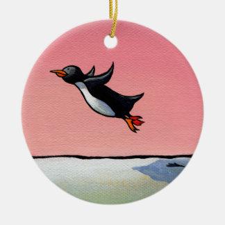 Penguin flying fun whimsical art Eternal Optimist Christmas Ornament